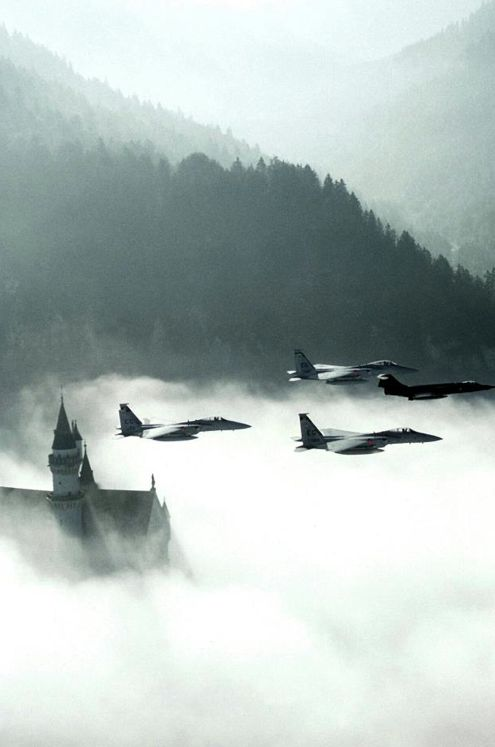 McDonnell Douglas/Boeing F-15 Eagles over Neuschwanstein Castle, Germany
