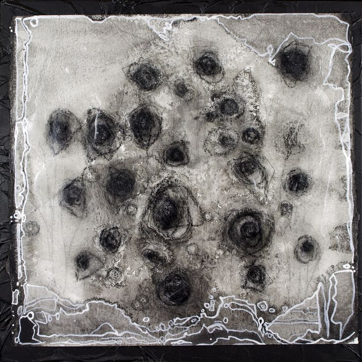 Black Roses, Black Roses Mixed media on paper, mounted on black ink soaked fine paper mounted on wooden panel. Amber Maida  2013 #art #painting #drawing #abstract #blackwhite #bw #blackandwhite #silver #pearl #lining #floral #flower #garden #flowers