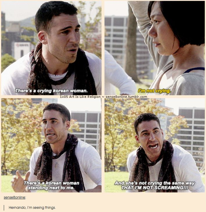 "Sense8 - 1x05 Art Is Like Religion [gifset] - ""There's a korean woman standing next to me and she's not crying the same way THAT I""M NOT SCREAMING!!"" - Lito Rodriguez meets Sun Bak (while driving on a busy freeway) - I love this scene!"
