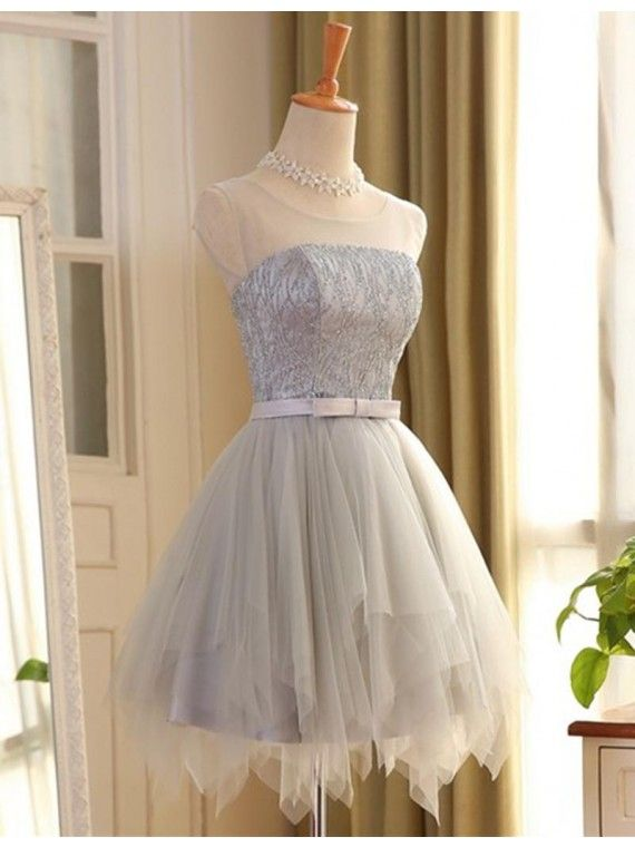 Chic A-line Scoop Short Gray Tulle Sleeveless Prom Dress with Lace