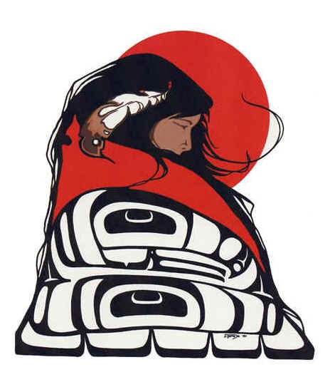 woman wrapped in the Tlingit Eagle Clan design