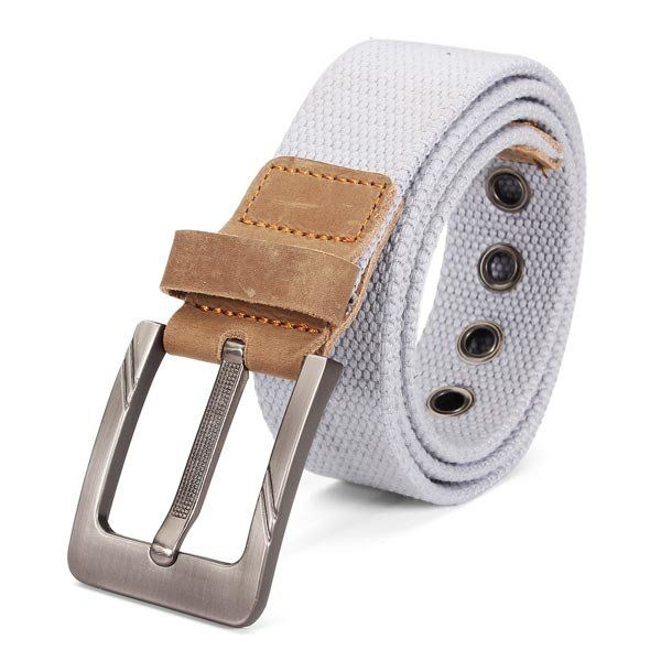 Mens Canvas Cowhide Trimmings Single Buckle Woven Belts  #men #fashion #accessories