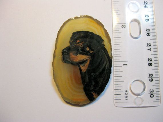 rottweiler dog pin/pendant on agate