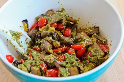 Grilled Eggplant, Grape Tomato, and Feta Salad with Amazing Basil, Pa ...