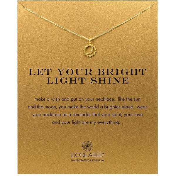 Dogeared 'Let Your Bright Light Shine' Pendant Necklace ($58) ❤ liked on Polyvore featuring jewelry, necklaces, gold, pendants & necklaces, chain pendants, pendant jewelry, pendant chain necklace and chain necklace