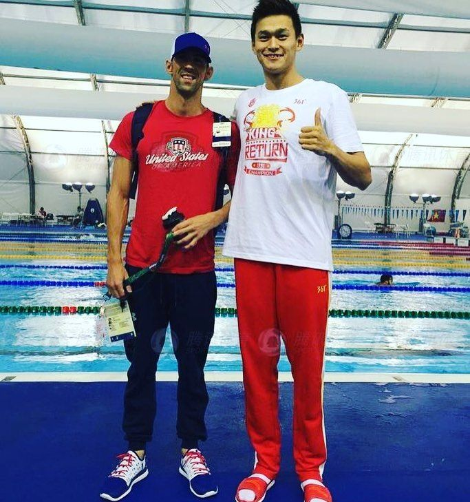 @m_phelps00 and Beijing Olympic winner  #rio #sunyang #rio2016 #michaelphelps #olympics #brazil #roadtorio #samba #makeithappen #countdown #roadtorio #wirhabeneinziel #timebrasil #brasil #football #brasilfootball #rionews #rioexpress #expressnews #phelps #instanews #instasports #tbt #like #follow #2016olympics #competition #schedule #Rumba #yichin