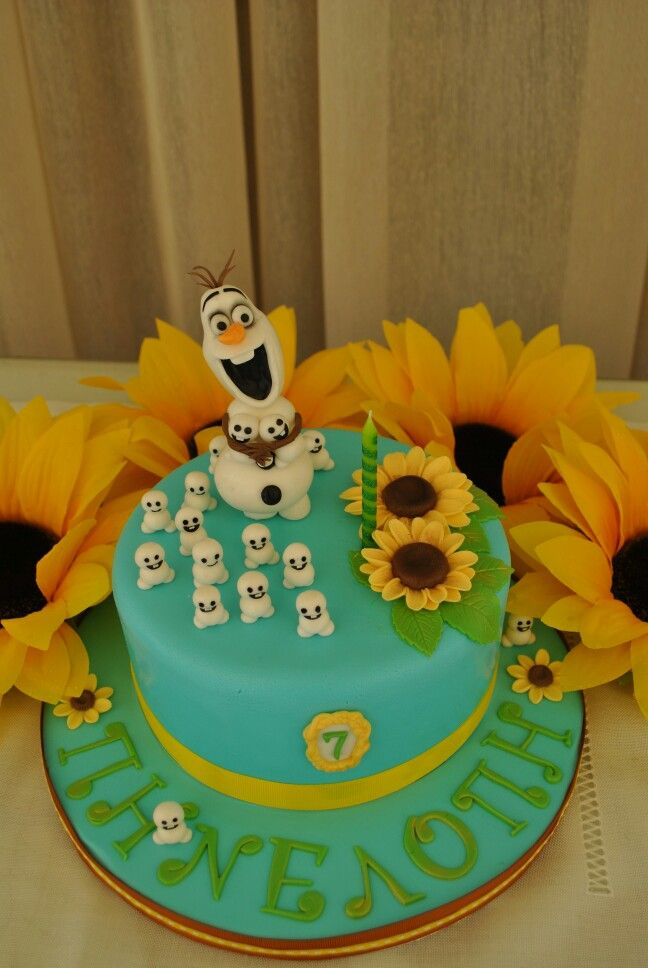 Frozen fever cake with sunflowers Olaf and snowgies - Frozen party Ideas.