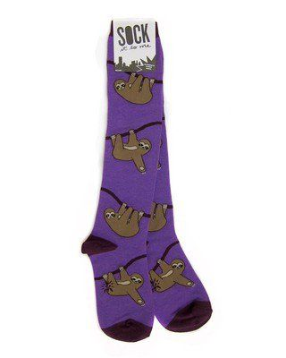 Sock it to Me Sloth Long Knee High Socks - Purple