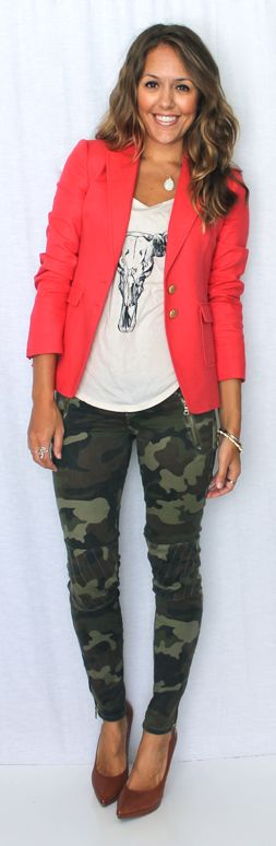 Camo skinny jeans and coral jacket                                                                                                                                                                                 More