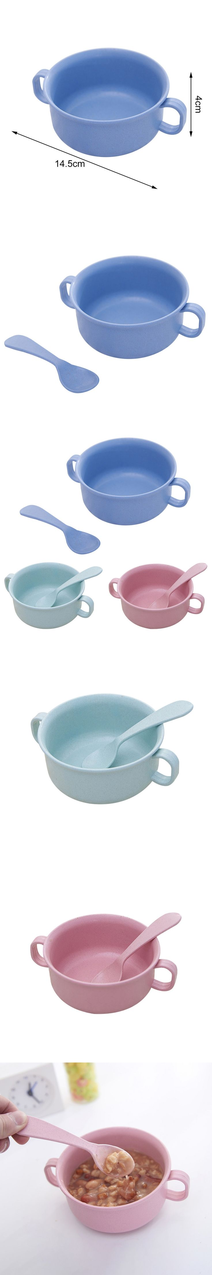 2pcs Children Bowl+Spoon Shatter Resistant Heatproof Bowl Wheat Straw Tableware with Handle Baby Bowl for Baby Kids Feeding Food