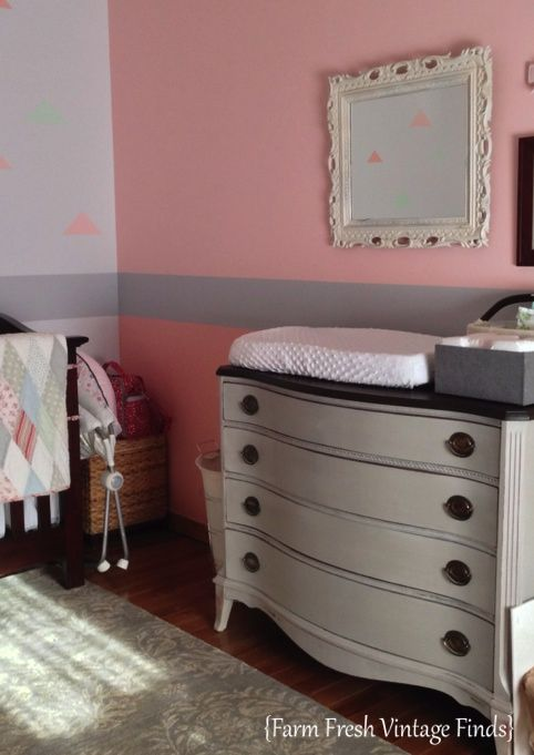 Love this color scheme one light pink wall and one light for Change furniture color