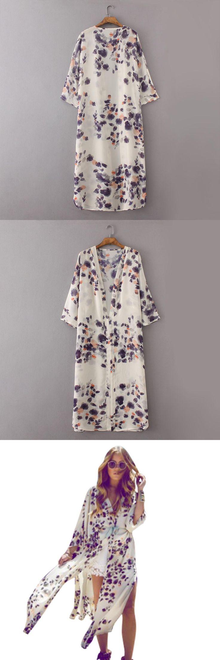 2017 Long Kimono Women  Floral Print Cardigan Vintage Summer Chiffon Kimonos Mujer Ropa Casual Blouses Shirts Beach Cape Knits