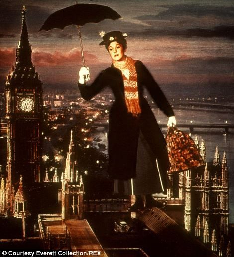 Julie Andrews as Mary Poppins taking flight over Westminster, London, in the eponymous fil...