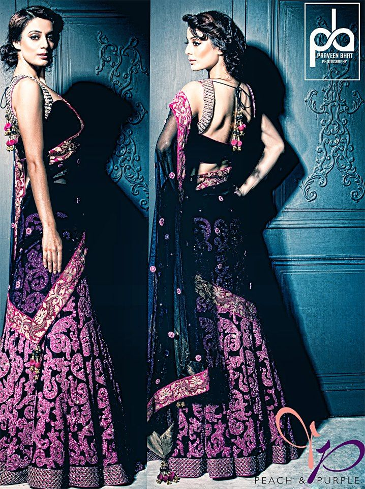 i love the draping of the dupatta and the color of the black and purple so absolutely gorgeous