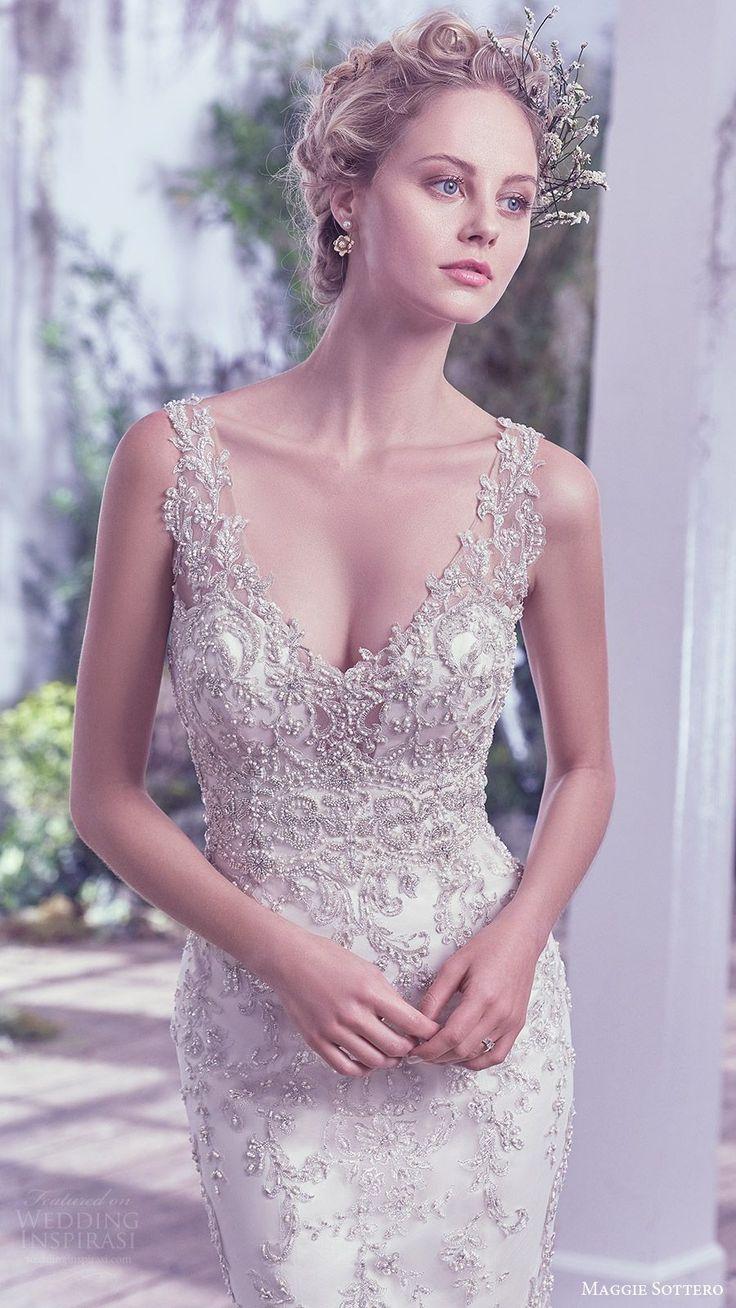 maggie sottero bridal fall 2016 sleeveless vneck sheath wedding dress (greer) zfv fully embellished bodice