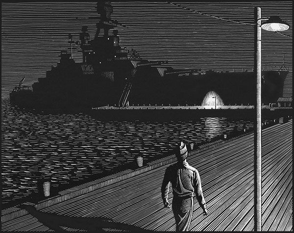 A soldier and a ship