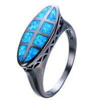 Único oceano Blue Fire Opal anel homens mulheres elegante da festa de noivado jóias Black Gold Filled anéis de promessa Bijoux Femme RB0552