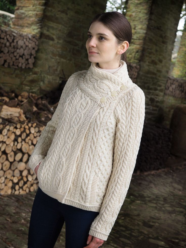 Side Buttons Aran Cardigan by Natallia Kulikouskaya for AranCrafts of Ireland