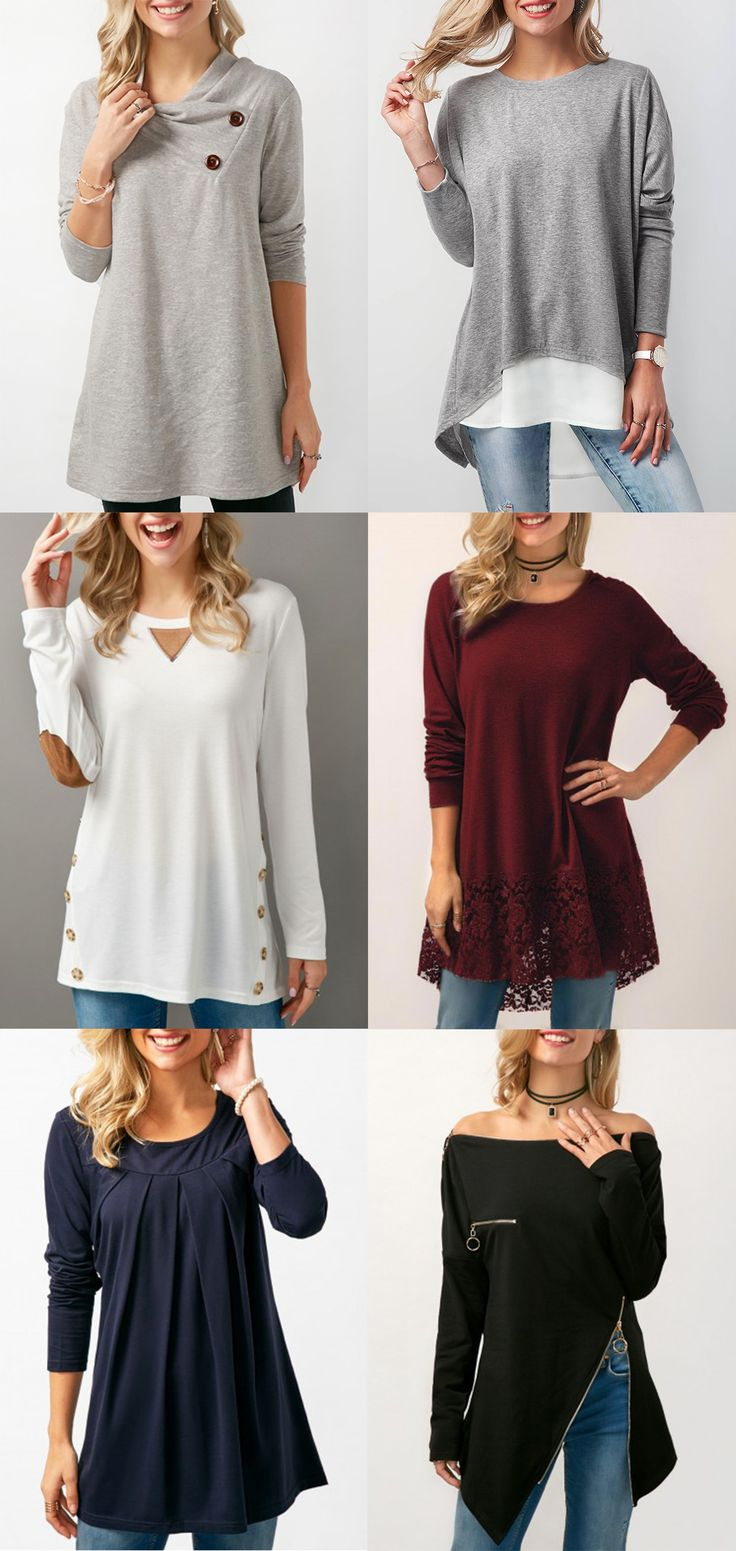 casual top, grey top, tunic top, long sleeve top, cotton top, fashion top. free shipping worldwide at Rosewe.com.