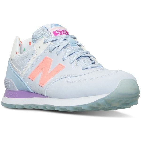 New Balance Women's 574 State Fair Casual Sneakers from Finish Line (1.783.180 VND) ❤ liked on Polyvore featuring shoes, suede leather shoes, suede shoes, new balance footwear, breathable shoes and shock absorbing shoes