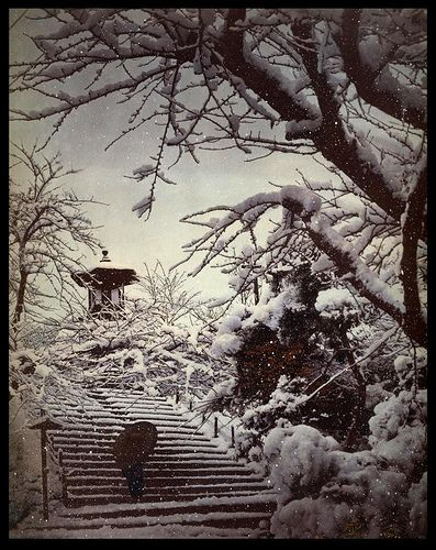 GEISHA RETURNING THROUGH THE PARK IN THE SNOWFALL OF A WINTER STORM -- A Scene from Old Meiji-Era Japan unknown photographer (see below for photo information)