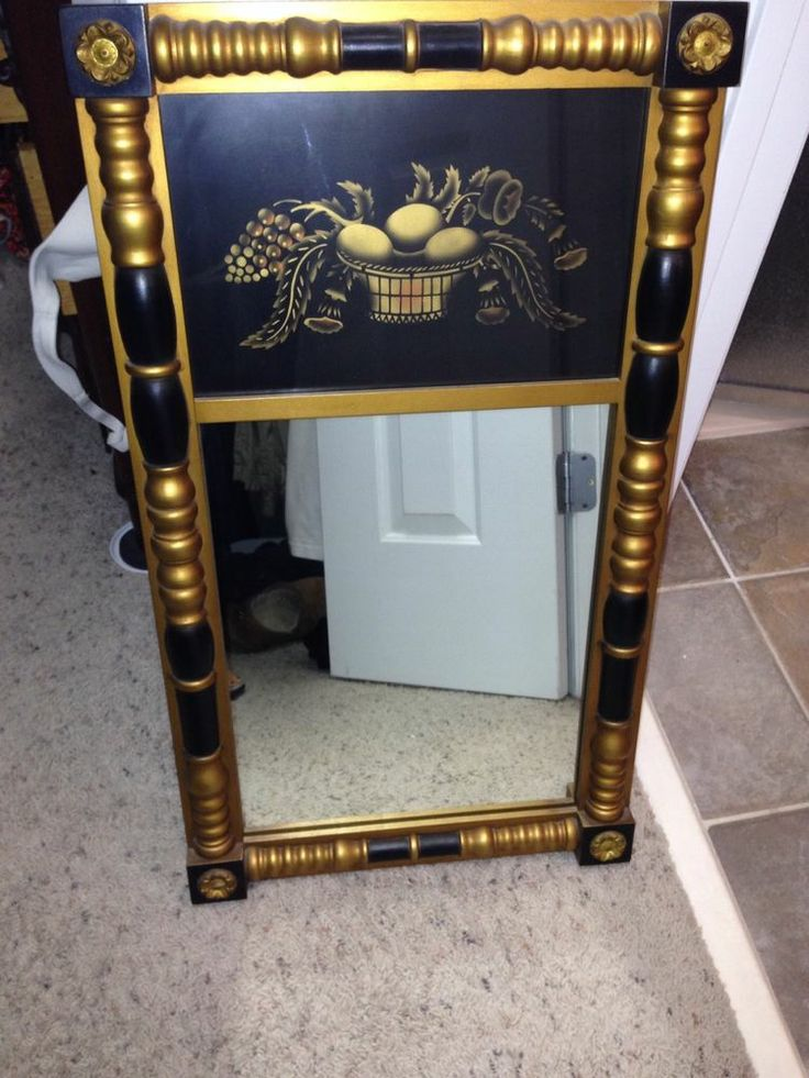 Hitchcock Butterfield Company Contempo Mirror In Satin Black/Gold 60020  Size: X