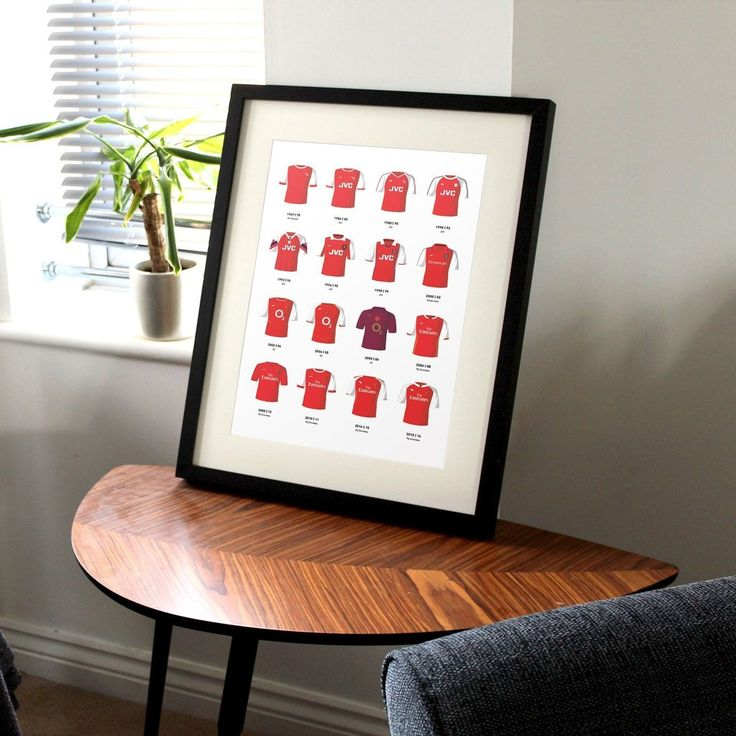 This print showcases some of the the most iconic kits that Arsenal players have worn throughout the rich history of the club. The strips range from the 1960's r