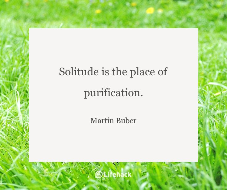 Solitude is the place of purification. – Martin Buber