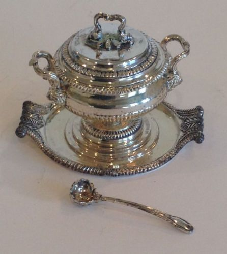 Limited Edition Miniature Silver Soup Tureen and Ladle by Pete Acquisto in Dolls & Bears, Dollhouse Miniatures, Artist Offerings | eBay