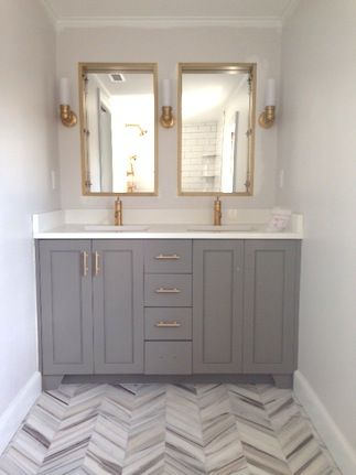 Incroyable Grey Cabinets   Could Look Good In The Pink Bathroom.