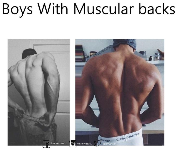Boys with muscular backs.
