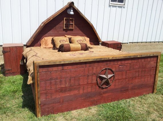 "The ""Barn Bed"" - Unique, 3 Dimensional Bed made from Repurposed Barn Wood."