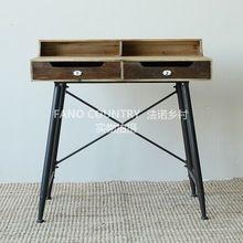 Фано французский в стиле кантри мебель чердак промышленности сделать старый сварочное железо туалетный столик стол D026 пятно(China (Mainland))