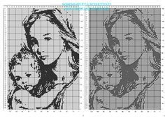 La Madonna col bambino schema filet uncinetto gratis 160 x 110 quadretti