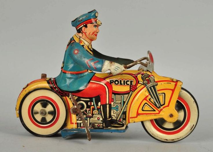 Unique Art Tin Litho Wind Up Police Motorcyclist.
