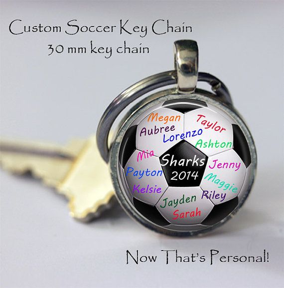 PERSONALIZED SOCCER BALL key chain gift for Soccer coach or Team Mom or yourself by NowThatsPersonal