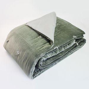 Dessus de lit en velours de coton Vert de Gris En fil d'indienne