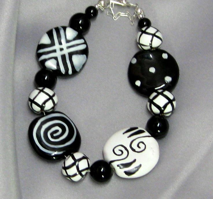 Kazuri Bead Bracelet in Black and White Handmade Kenyan Beads SOLD. Check out another B&W Bracelet