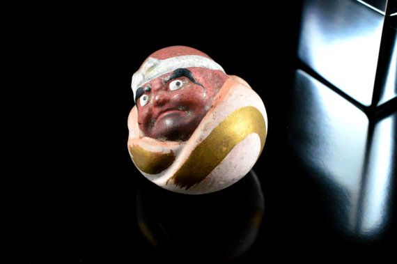 Pending Negotiations Japanese Daruma Doll - Japanese Good Luck Charm - Folk Art Doll - Don't Look at me! Design