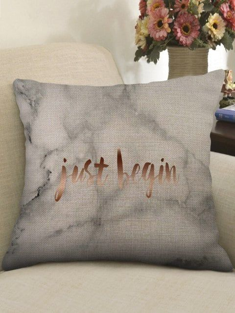 793573a402b Marble Grain and Letters Pillow Case - multicolor W17.5 INCH   L17.5 INCH