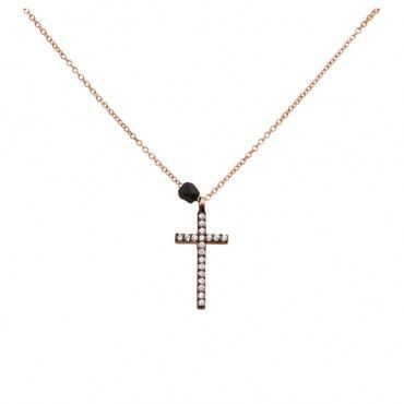 Μοντέρνο κολιέ λεπτός σταυρός μαύρος επιπλατινωμένος με σειρέ λευκά ζιργκόν και μαύρο όνυχα | Κολιέ ΤΣΑΛΔΑΡΗΣ στο Χαλάνδρι & online shop! #σταυρός #κολιέ #cross