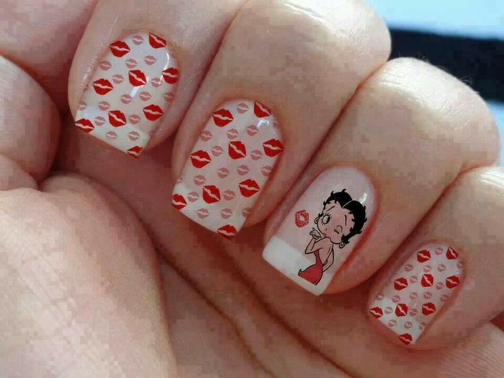 Clear Betty Boop/Red lips art