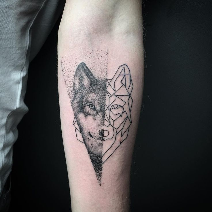 Wolf Wrist Tattoo Designs Ideas And Meaning: Geometric Wolf On Forearm