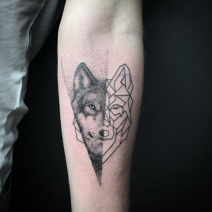 geometric wolf on forearm animal tattoo designs. Black Bedroom Furniture Sets. Home Design Ideas