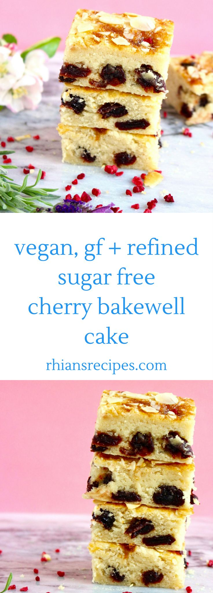 This Gluten-Free Vegan Cherry Bakewell Cake is easy to make, tastes every bit as delicious as the traditional version, and is surprisingly healthy! Also refined sugar free.