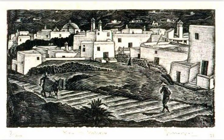 Μόσχος Γεώργιος(1906-90). Μύκονος 1937-Ξυλογραφία Στα σκαλοπάτια της Αλευκάντρας.