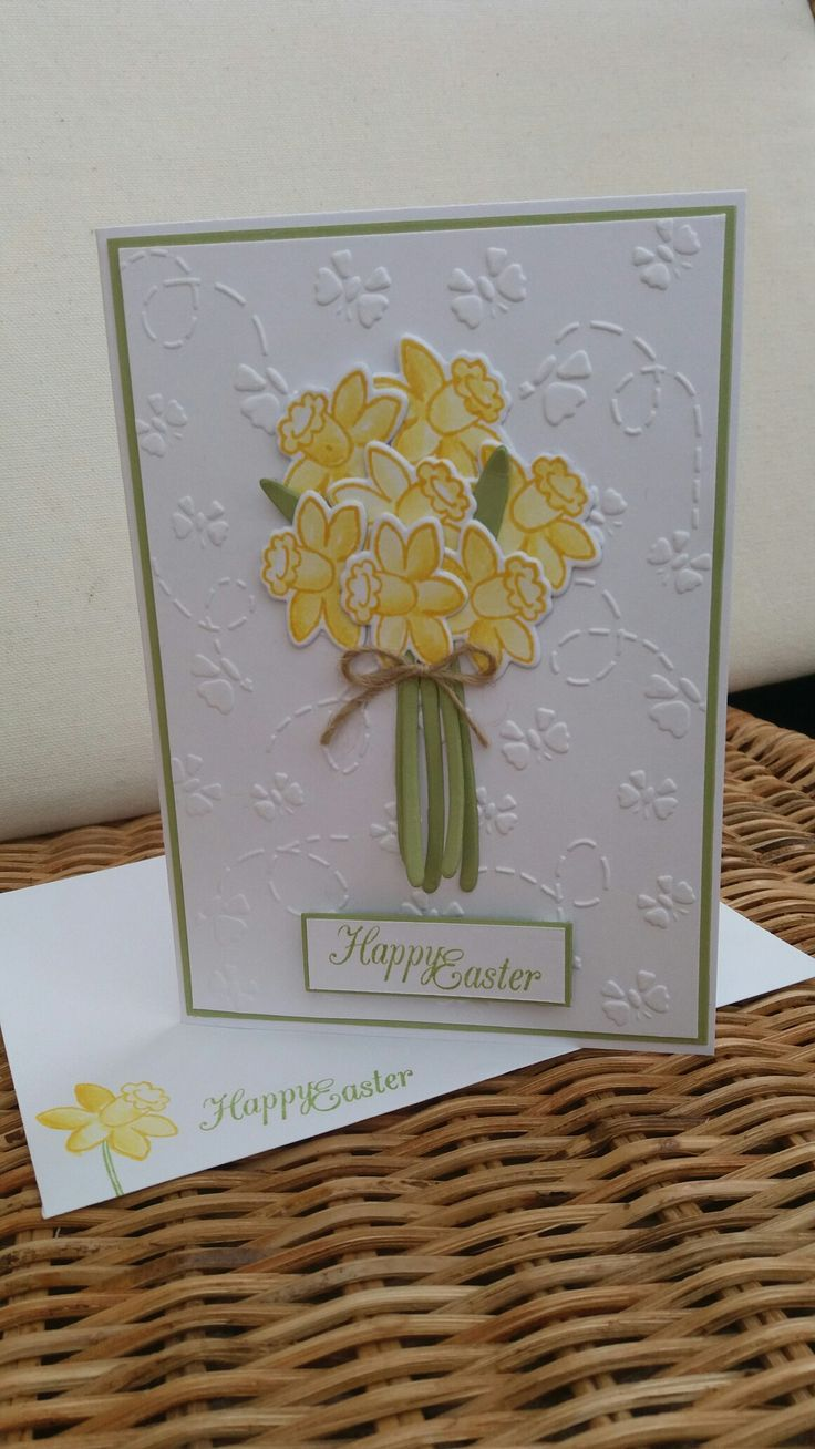 Easy Easter card using daffodil from Basket Bunch from Stampin Up