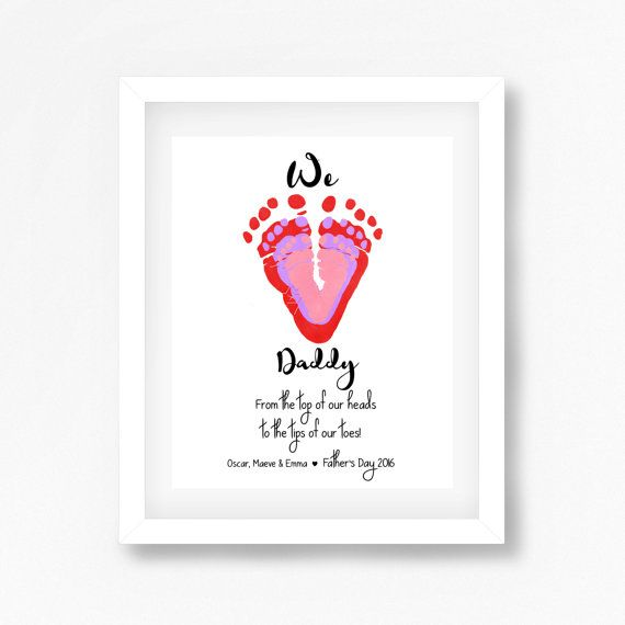 Father's Day Gift from Children, Footprint Art for Daddy, Gift for Dad from Kids, Personalised Father's Day Gift, Quirky Gift for Dad