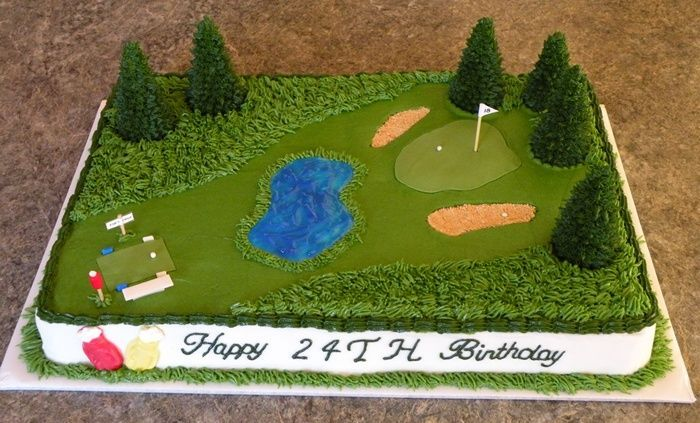 Golf Course Cake   Golf Course Birthday Cake. Two flavor half sheet cake with buttercream frosting and fondant accents. Trees are JOY waffle cones cut to different heights. Sand traps are crushed gram crackers and water hazard is tinted piping gel over white fondant base. Golf bags on the front of the cake are chocolate candy molds. Everything is edible except the flag, yardage sign and ball washer post. #bringJOYhome