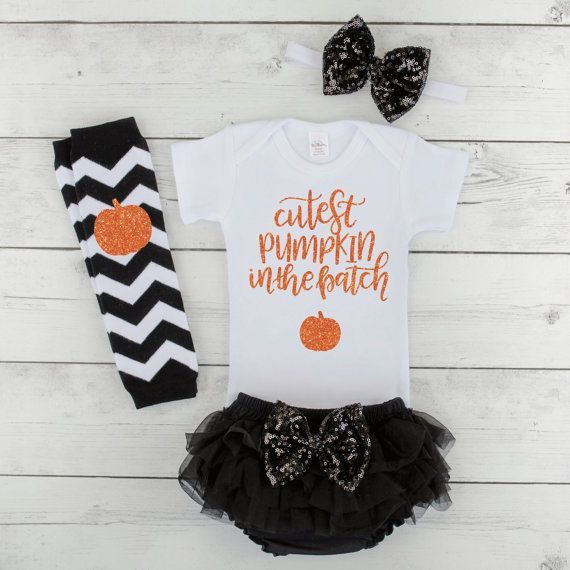 Baby Girl Halloween Outfit Cutest Pumpkin in the Patch Baby First Halloween Outfit Newborn Halloween Costume Girl Baby Halloween